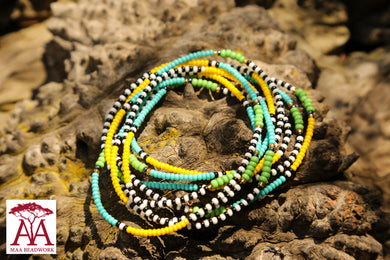 Wrap bead bracelet in blue, yellow and green