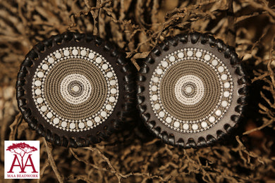 Beaded Leather Coaster in Grey & White Colors