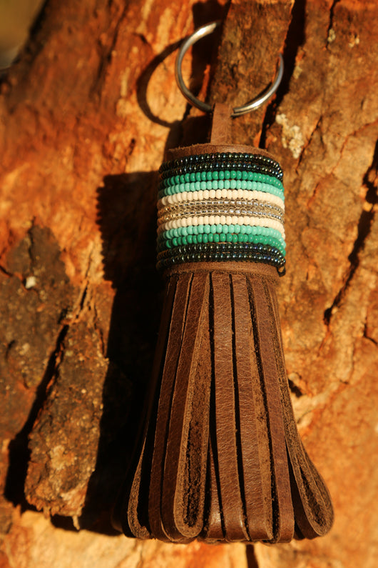 Large Folded Tassel Bag Decoration in Metallic Green & Teal Stripes