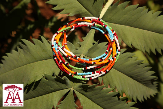 Wrap bead bracelet in traditional Maasai colours