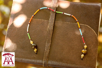 Beaded Bookmark in traditional maasai colours