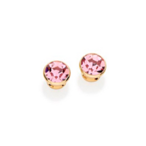 pink crystal 18K gold plated stud earrings