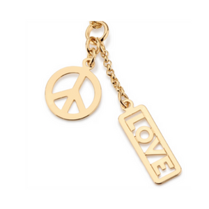 18K gold love and peace necklace