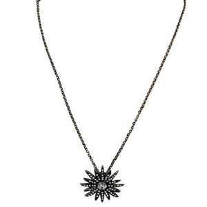Mandarine Starburst Necklace With Clear Crystals