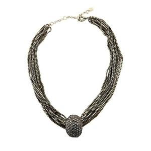 Multi Strand Antique Necklace With Gray Crystals