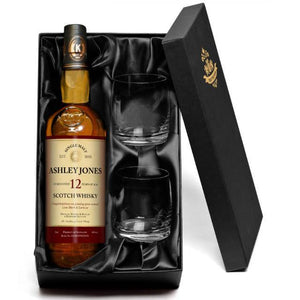 Personalised 12 Yr Old Malt Whisky & Glasses Gift Set - stamptastic-uk
