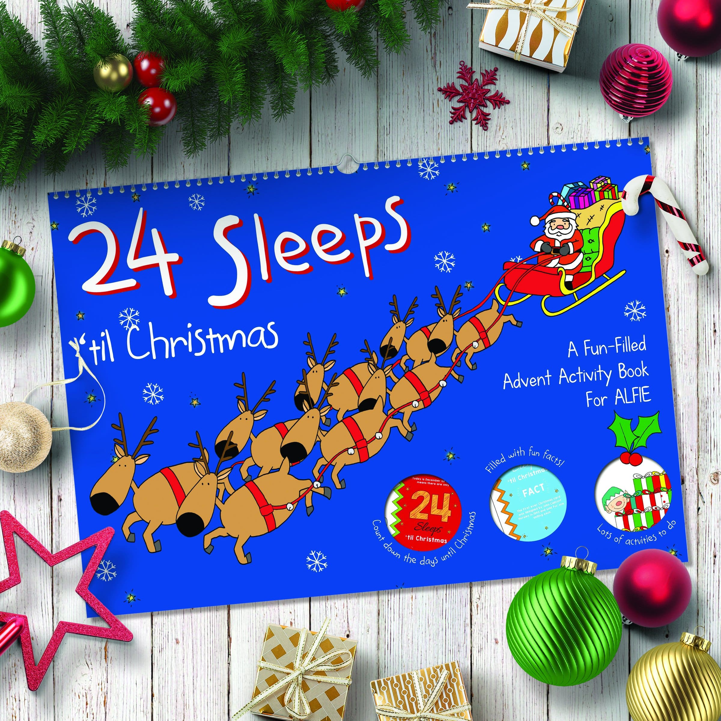 24 Sleeps 'til Christmas Personalised Book - stamptastic-uk