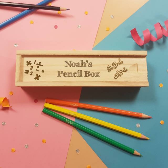 Back to School Wooden Box Sliding Lid & 12 Pencils - stamptastic-uk
