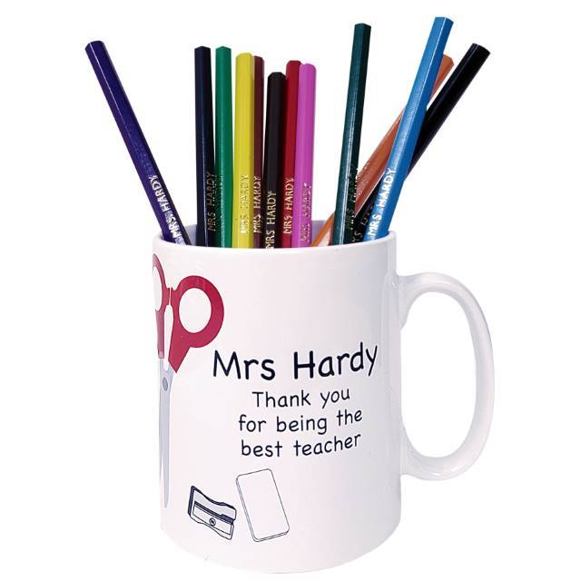 Personalised Teacher Mug with Personalised Pencils - stamptastic-uk