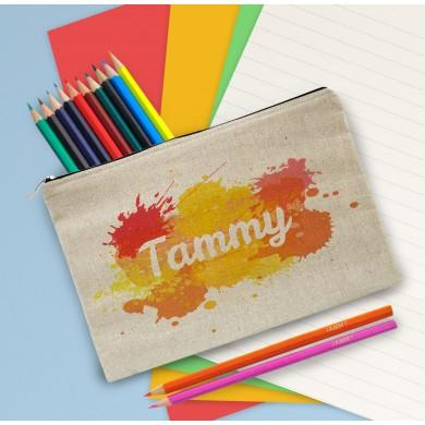 Splash Personalised Pencil Case and 12 Personalised Colouring pencils - stamptastic-uk