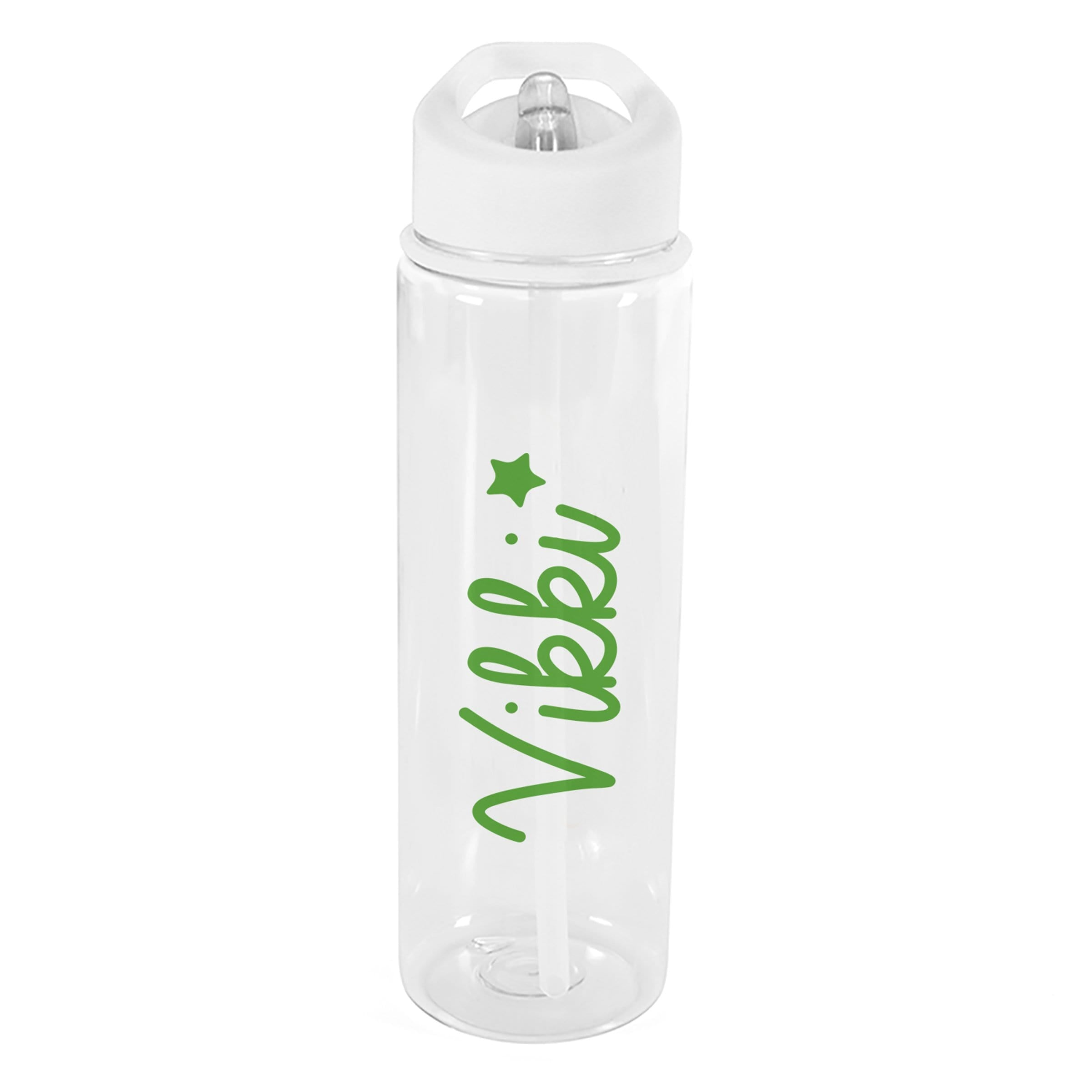 Green Star Transparent Water Bottle - stamptastic-uk