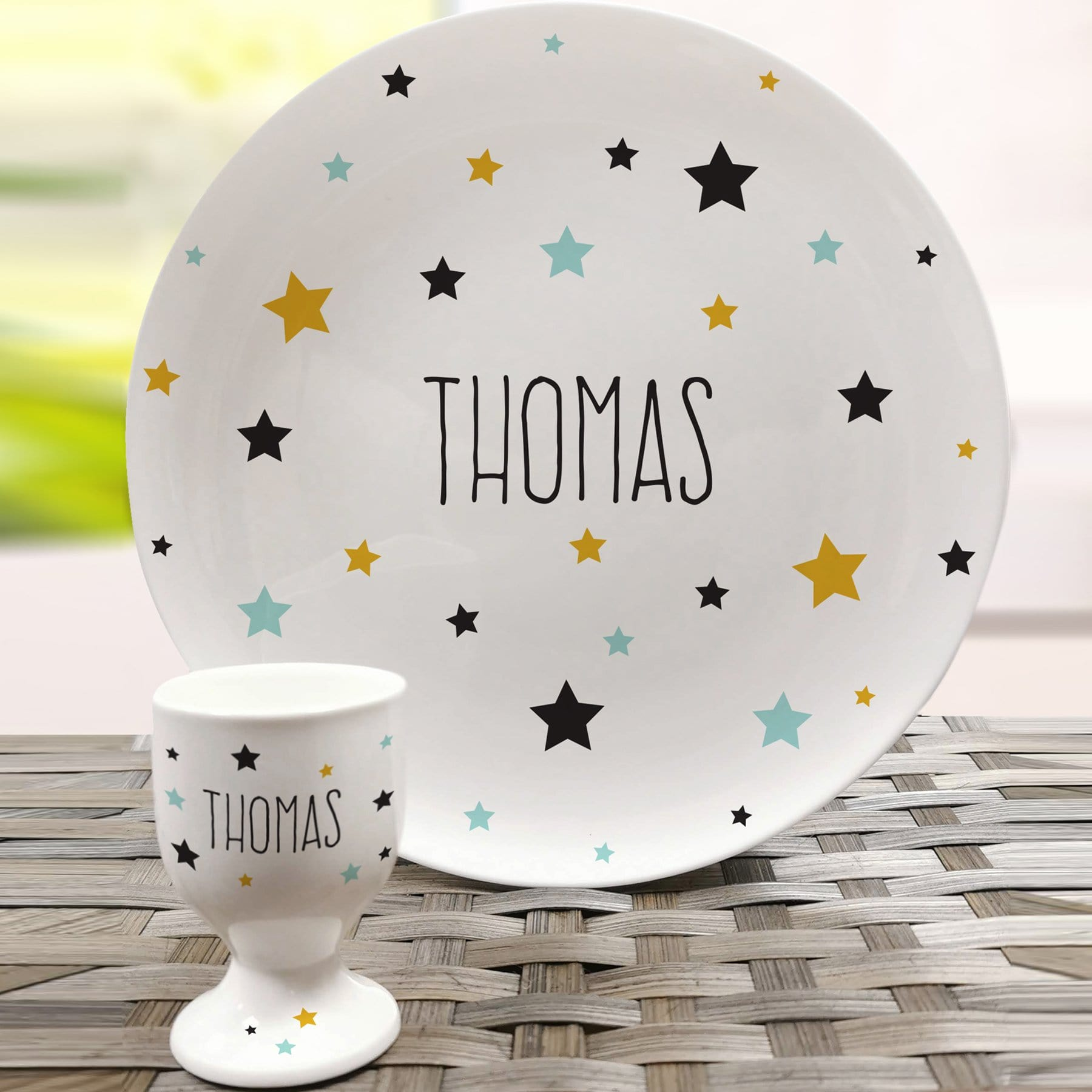 Personalised Star Bone China Plate and Egg Cup - stamptastic-uk