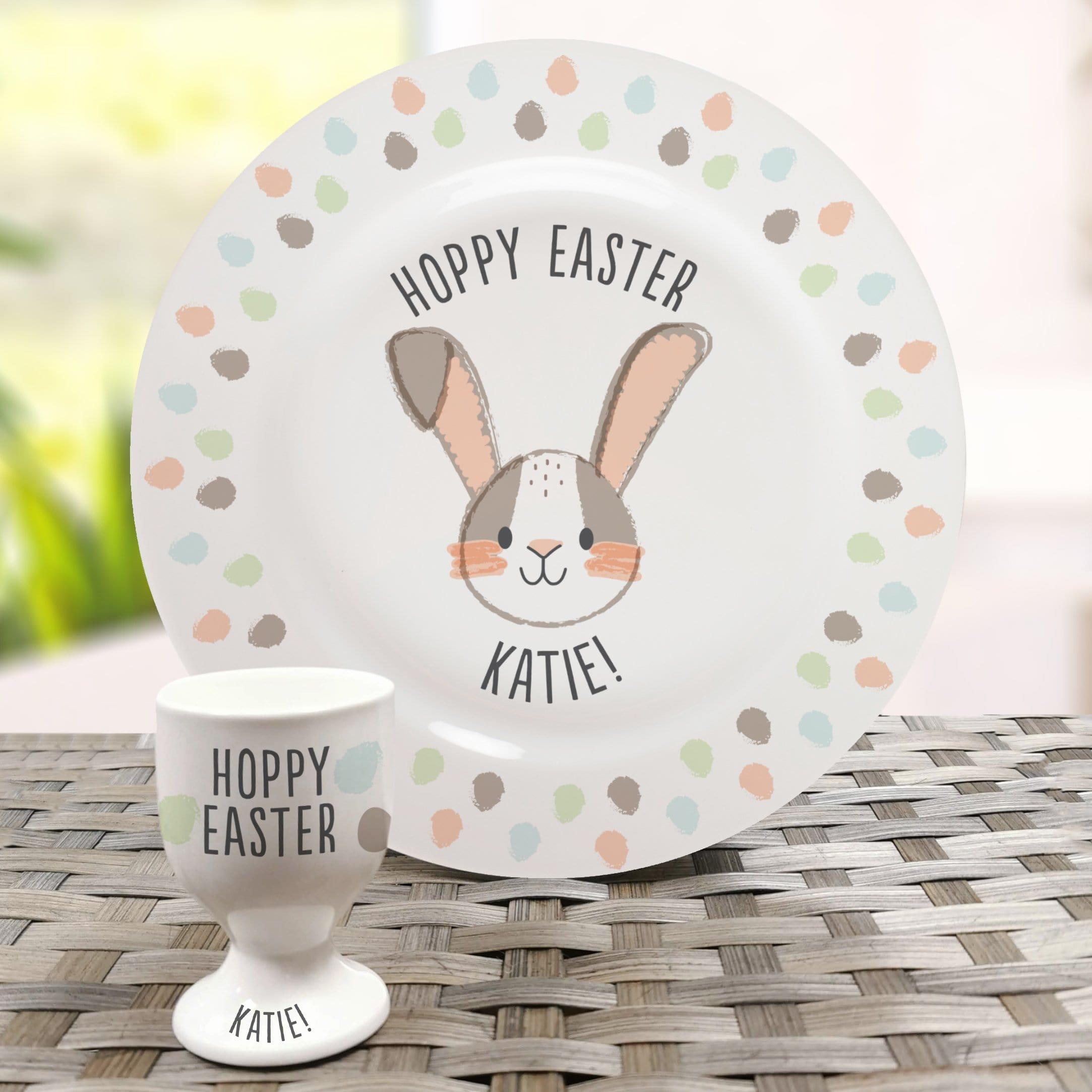 Personalised Hoppy Easter Bone China Plate and Egg Cup - stamptastic-uk