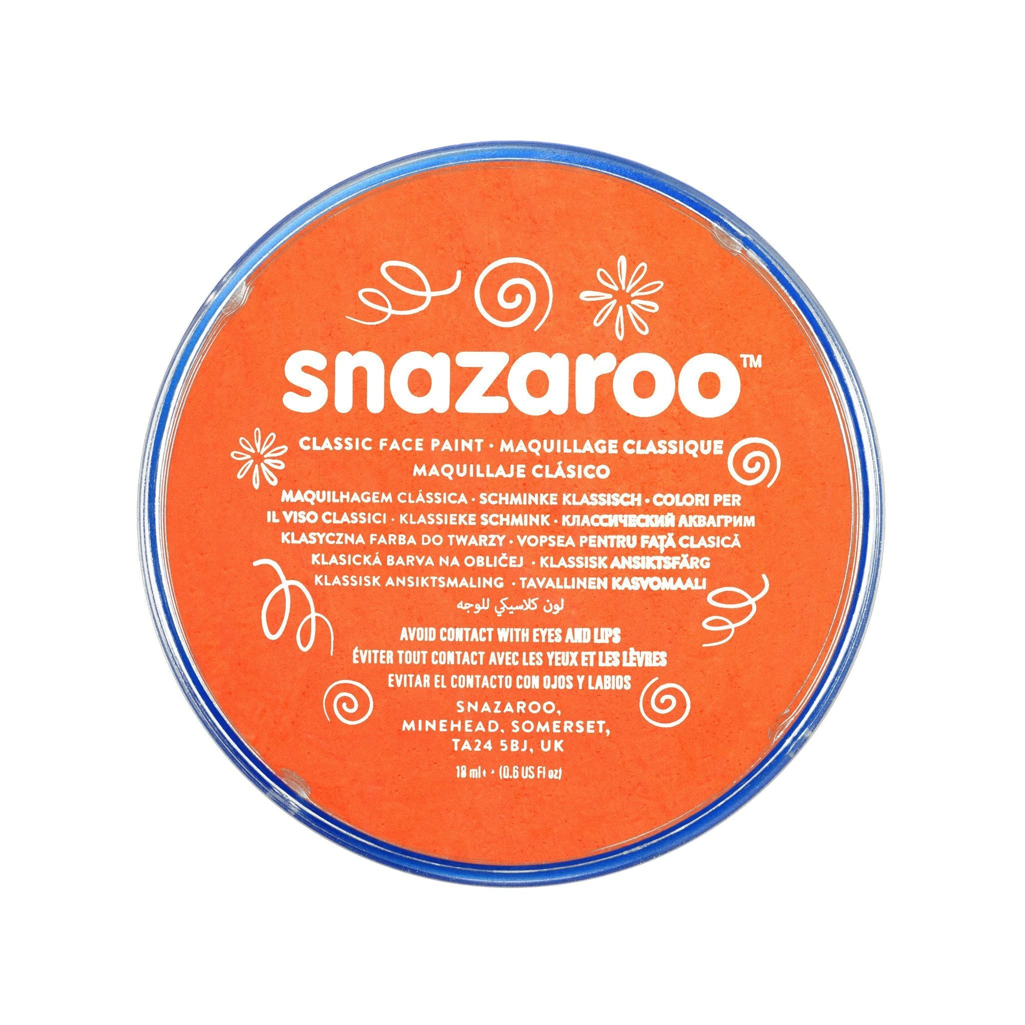 Snazaroo Classic Orange Face & Body Paint - stamptastic-uk