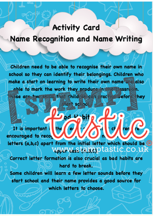 Starting School Free Resource: Name Recognition and Name Writing Activity Card - stamptastic-uk