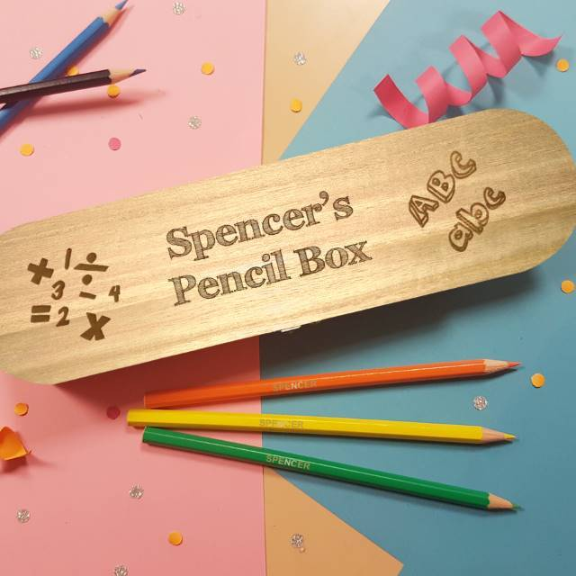 Back to School Wooden Box Hinged Lid & 12 Pencils - stamptastic-uk