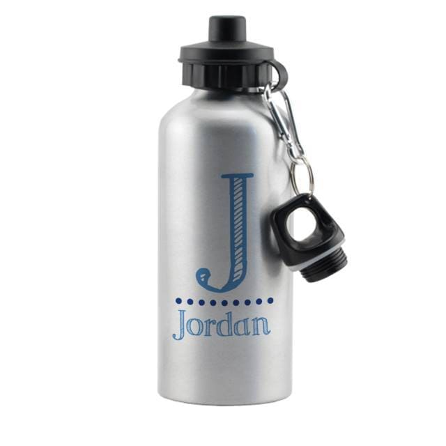 Blue Name Silver Drinks Bottle - stamptastic-uk
