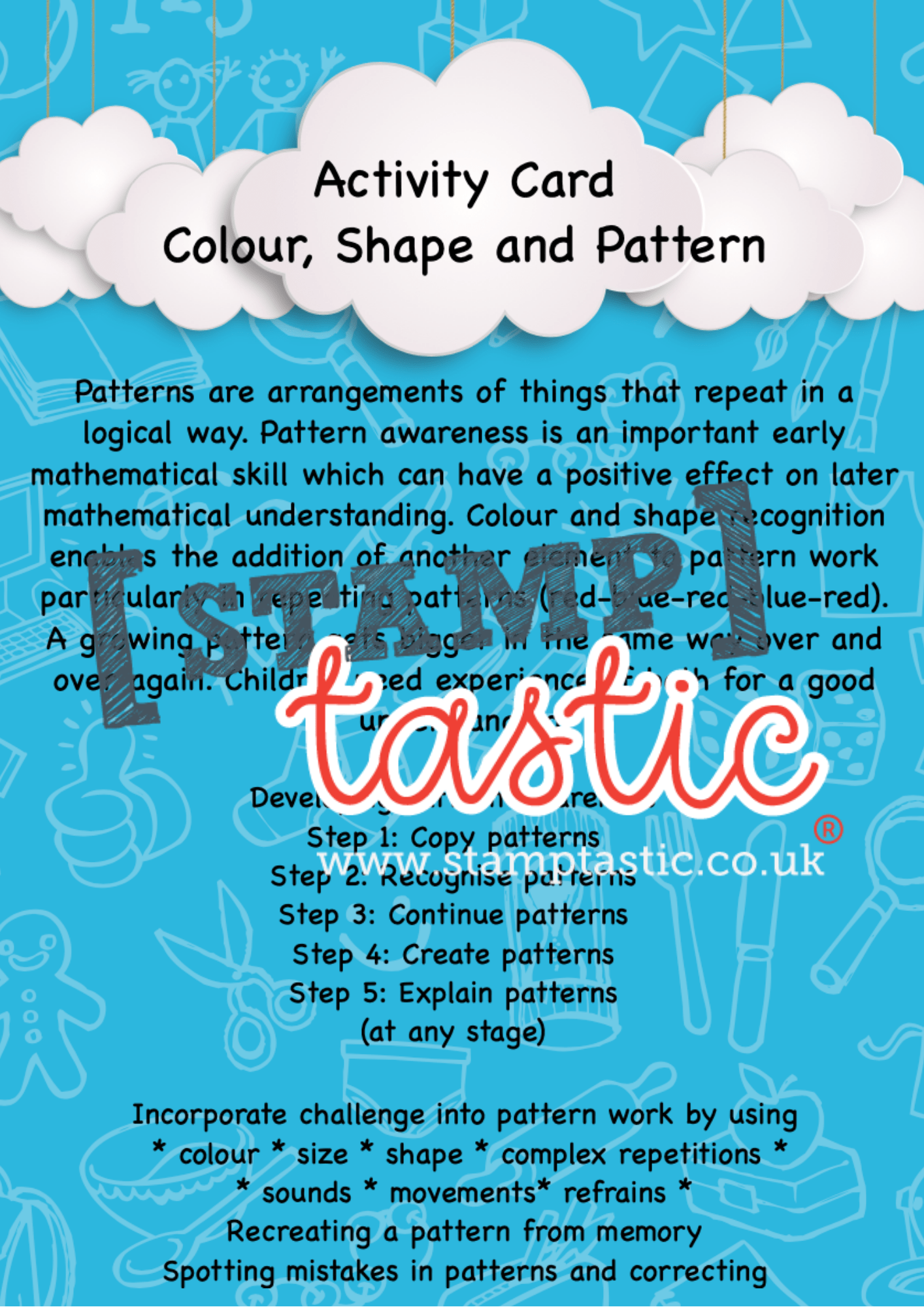 Starting School Free Resource: Colour, Shape and Pattern Activity Card - stamptastic-uk