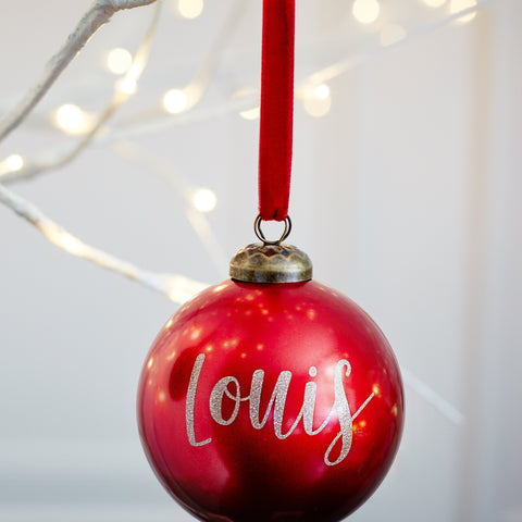 Personalised Red Metallic bauble