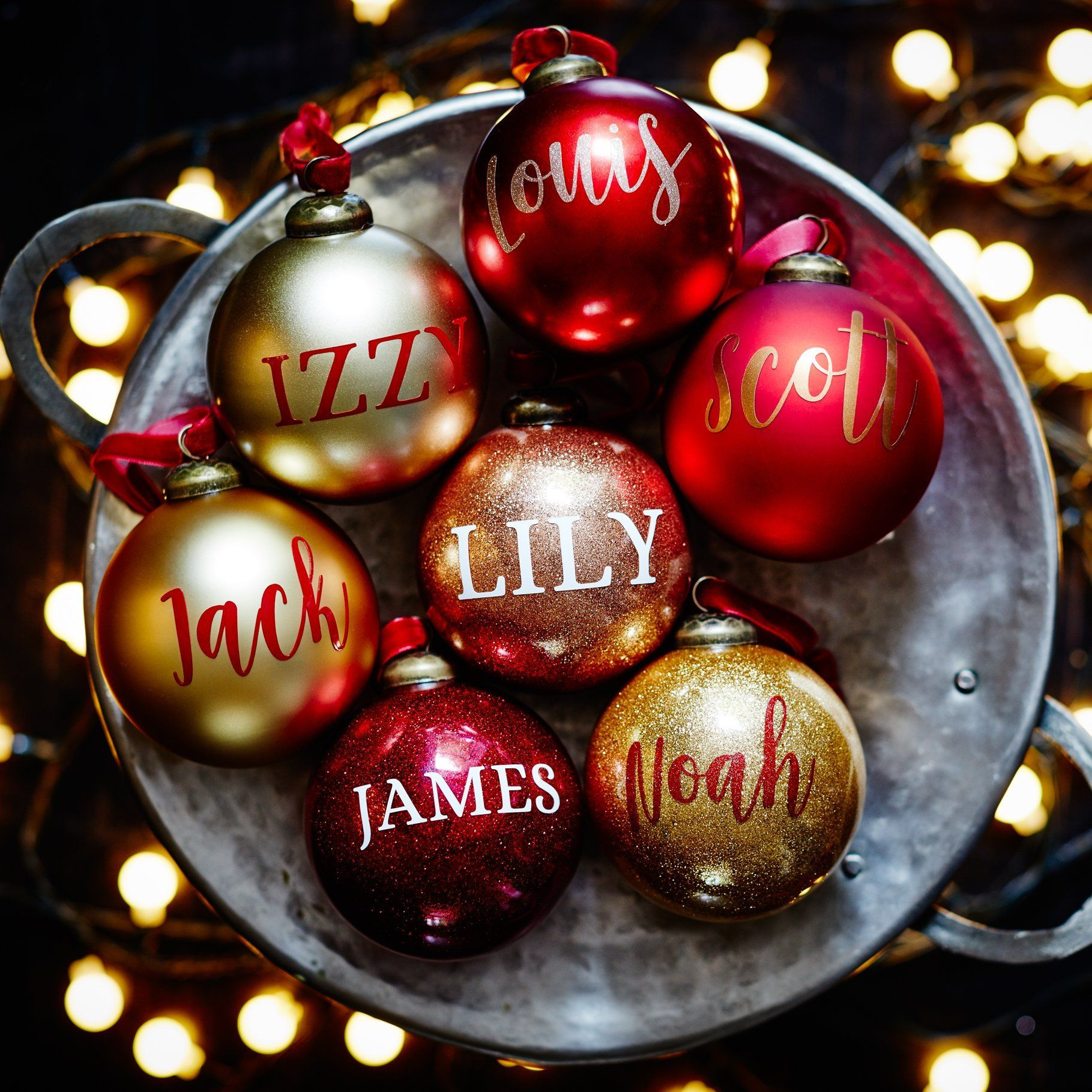 Personalised Red Glitter bauble