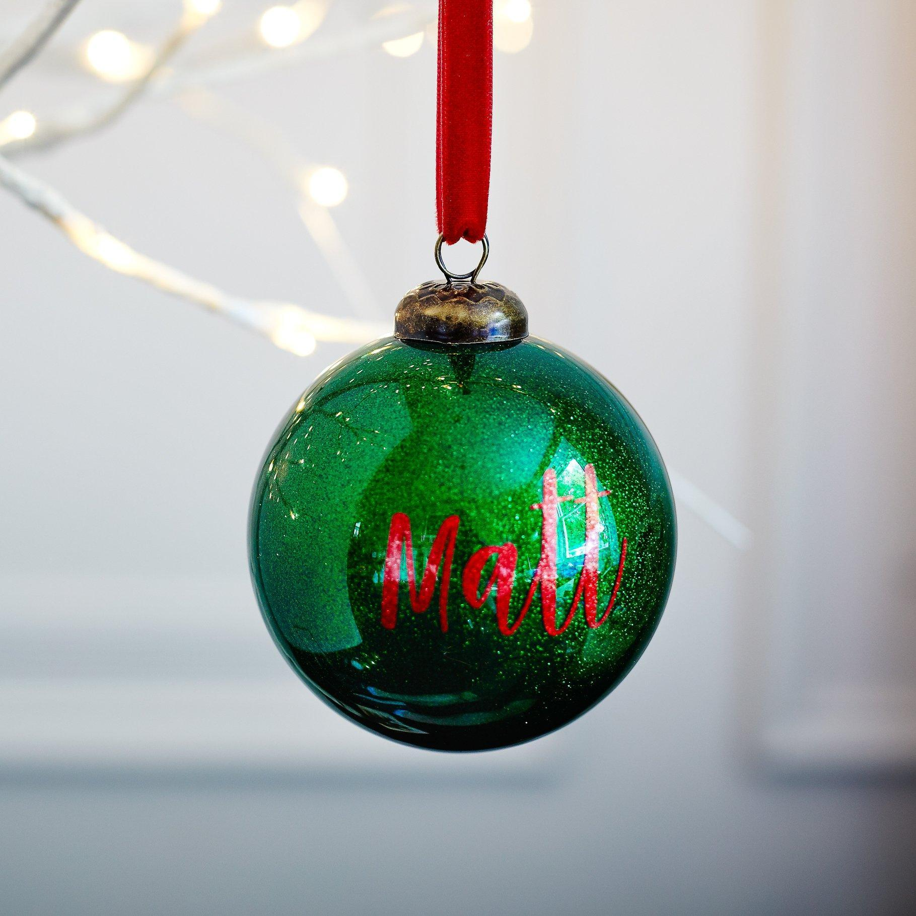 Personalised Green Glitter bauble