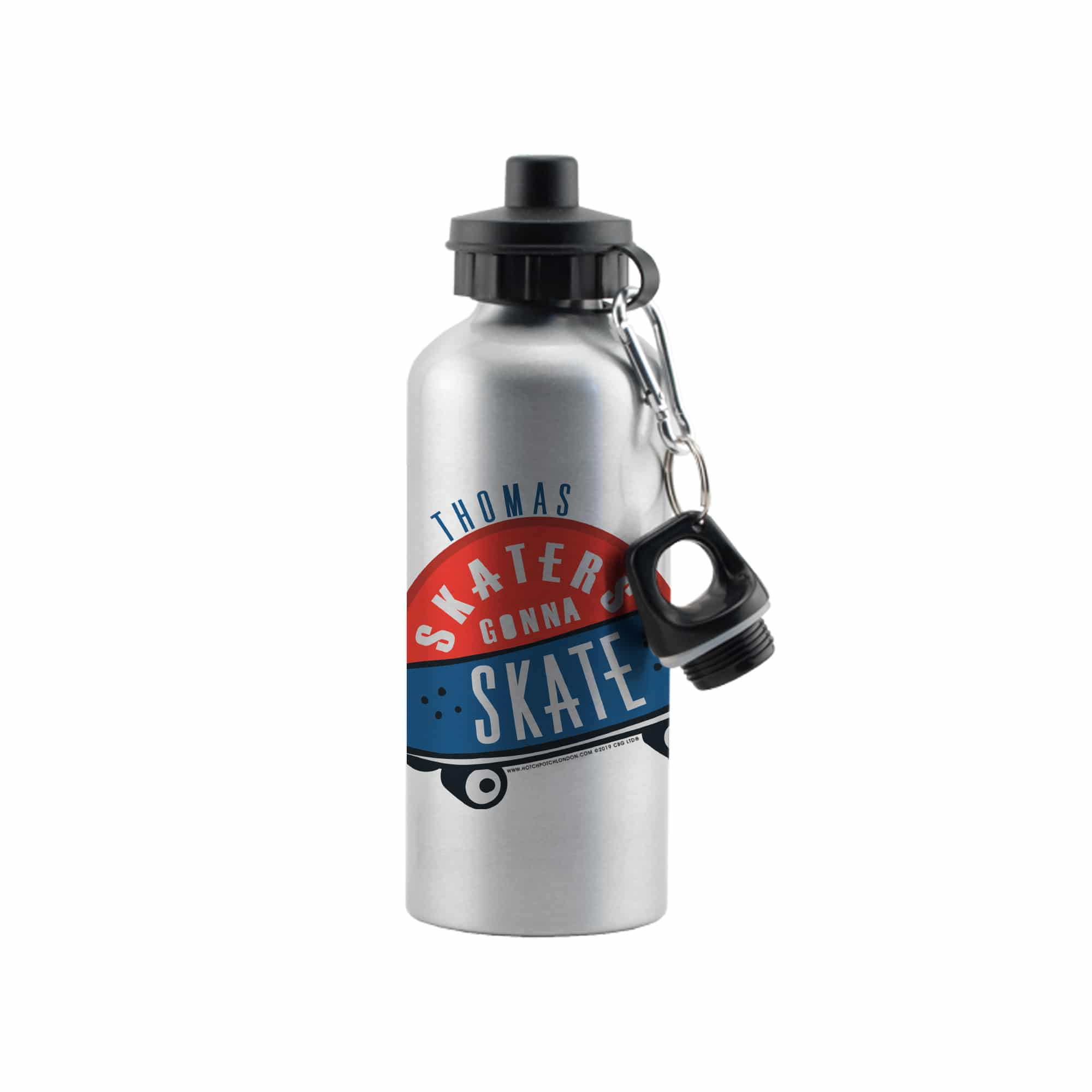 HotchPotch Skaters Gonna Skate Silver Drinks Bottle - stamptastic-uk