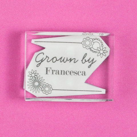 Grown by ........ Flowers Stamp