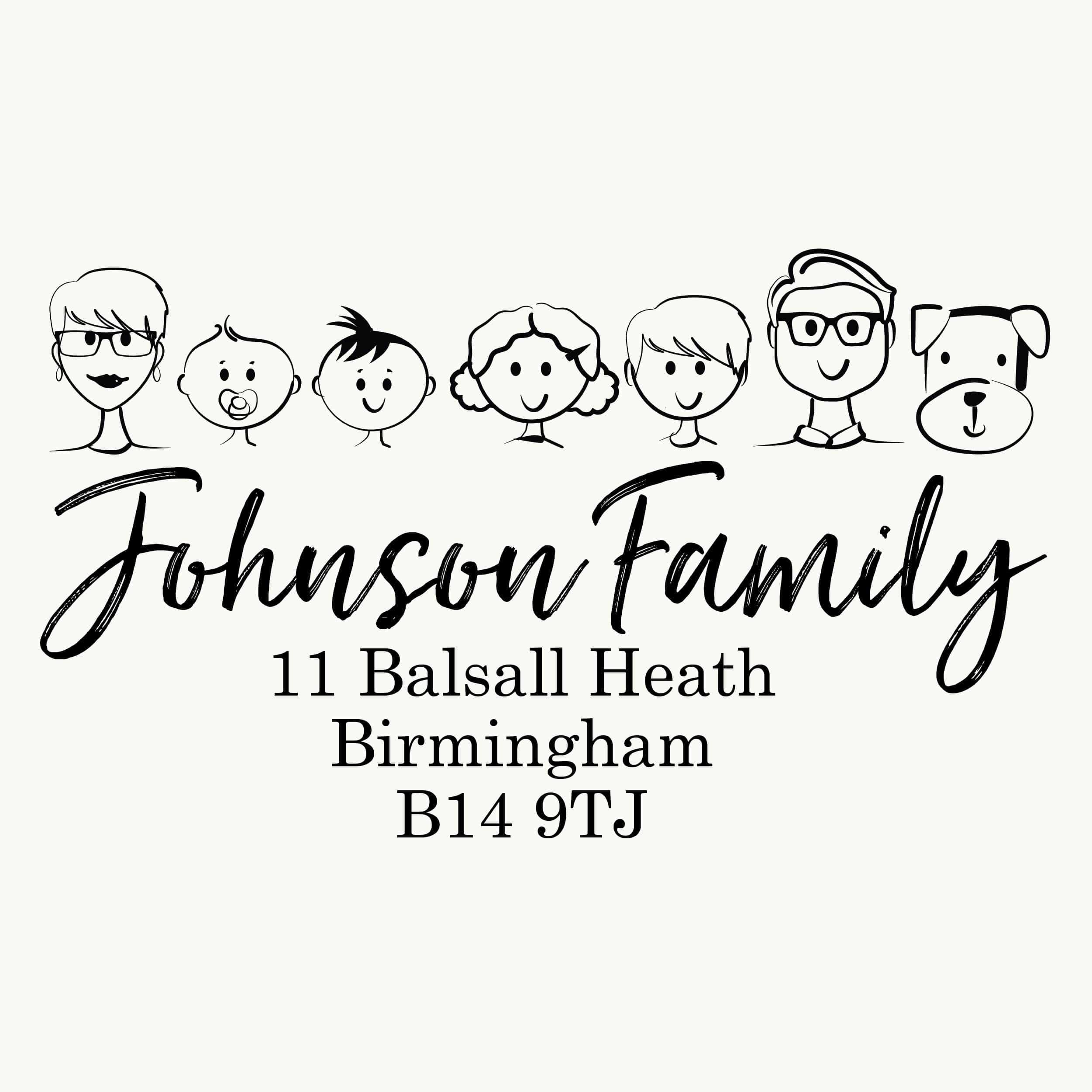 Fun Family Portrait Personalised Stamp - Large - stamptastic-uk