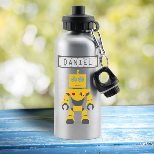 Robot Drinks Silver Bottle - stamptastic-uk