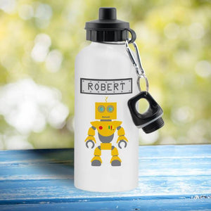 Robot White Drinks Bottle - stamptastic-uk
