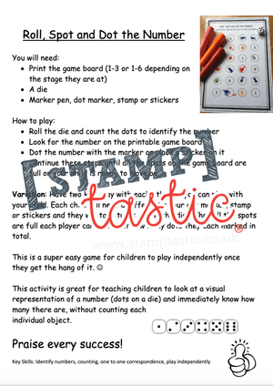 Starting School Free Resource: Roll, Spot and Dot the Number Game - stamptastic-uk