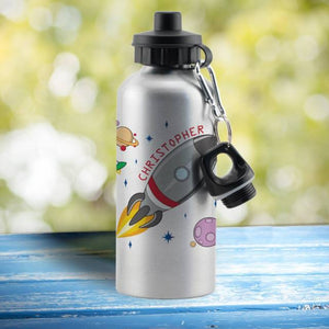 Space Rocket Silver Drinks Bottle - stamptastic-uk