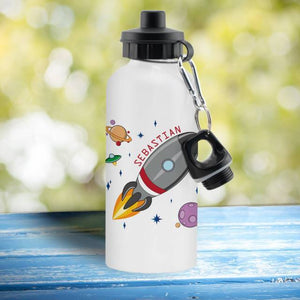 Space Rocket White Drinks Bottle - stamptastic-uk