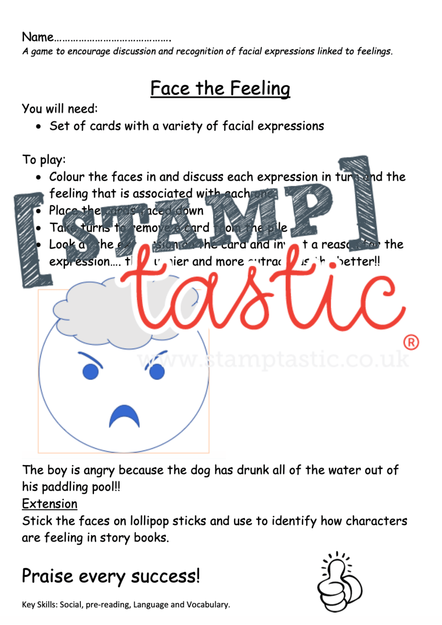 Starting School Free Resource: Feelings Game - stamptastic-uk