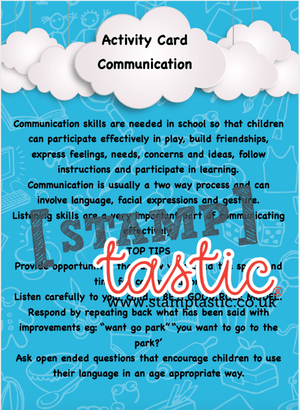 Starting School Free Resource: Communication Skills Activity Card - stamptastic-uk