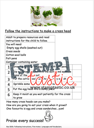 Starting School Free Resource: Cress Head Activity - stamptastic-uk