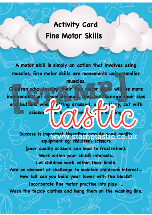 Starting School Free Resource: Fine Motor Skills Activity Card - stamptastic-uk