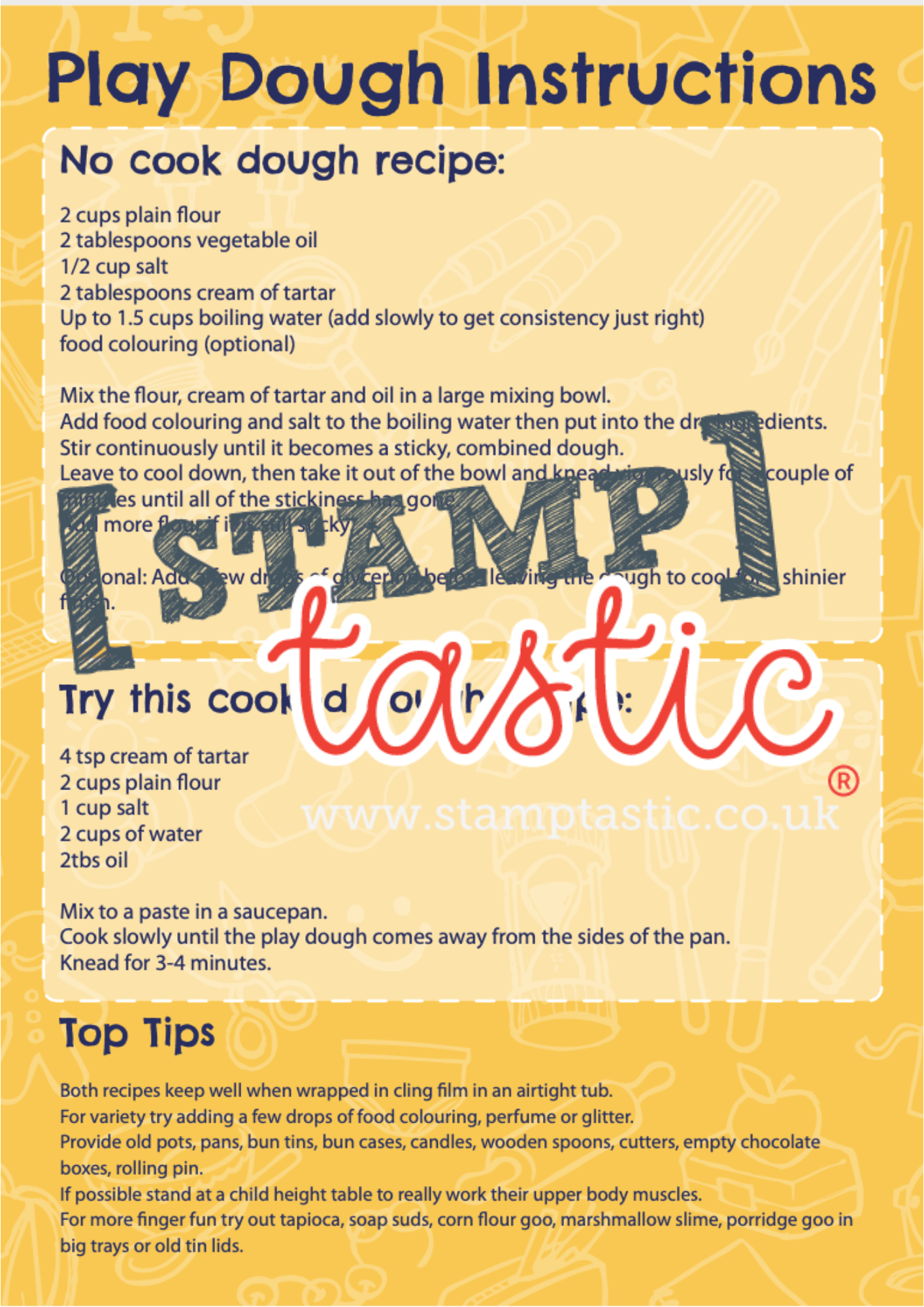 Starting School Free Resource: Playdough Activity Card - stamptastic-uk