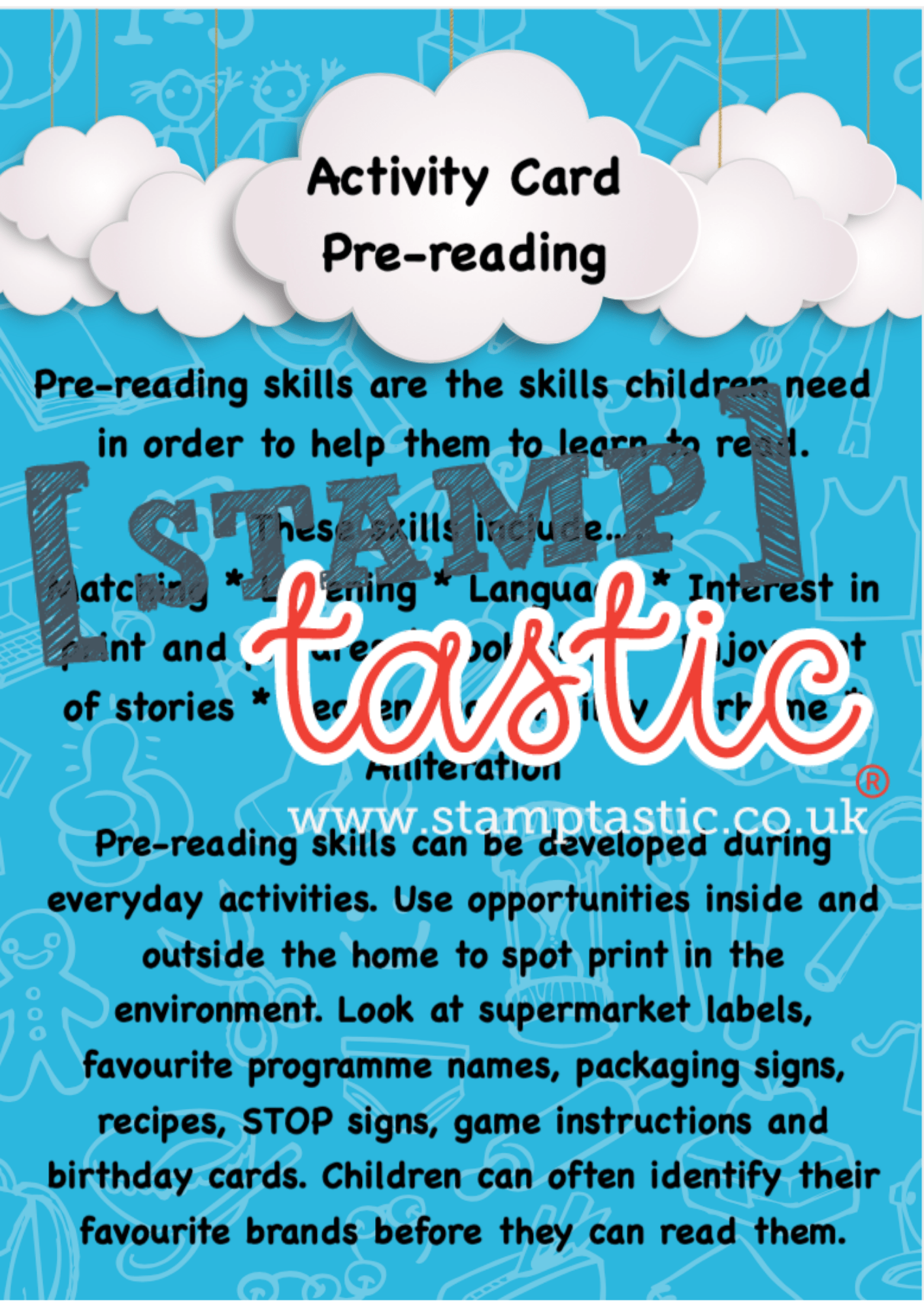 Starting School Free Resource: Pre Reading Activity Card - stamptastic-uk