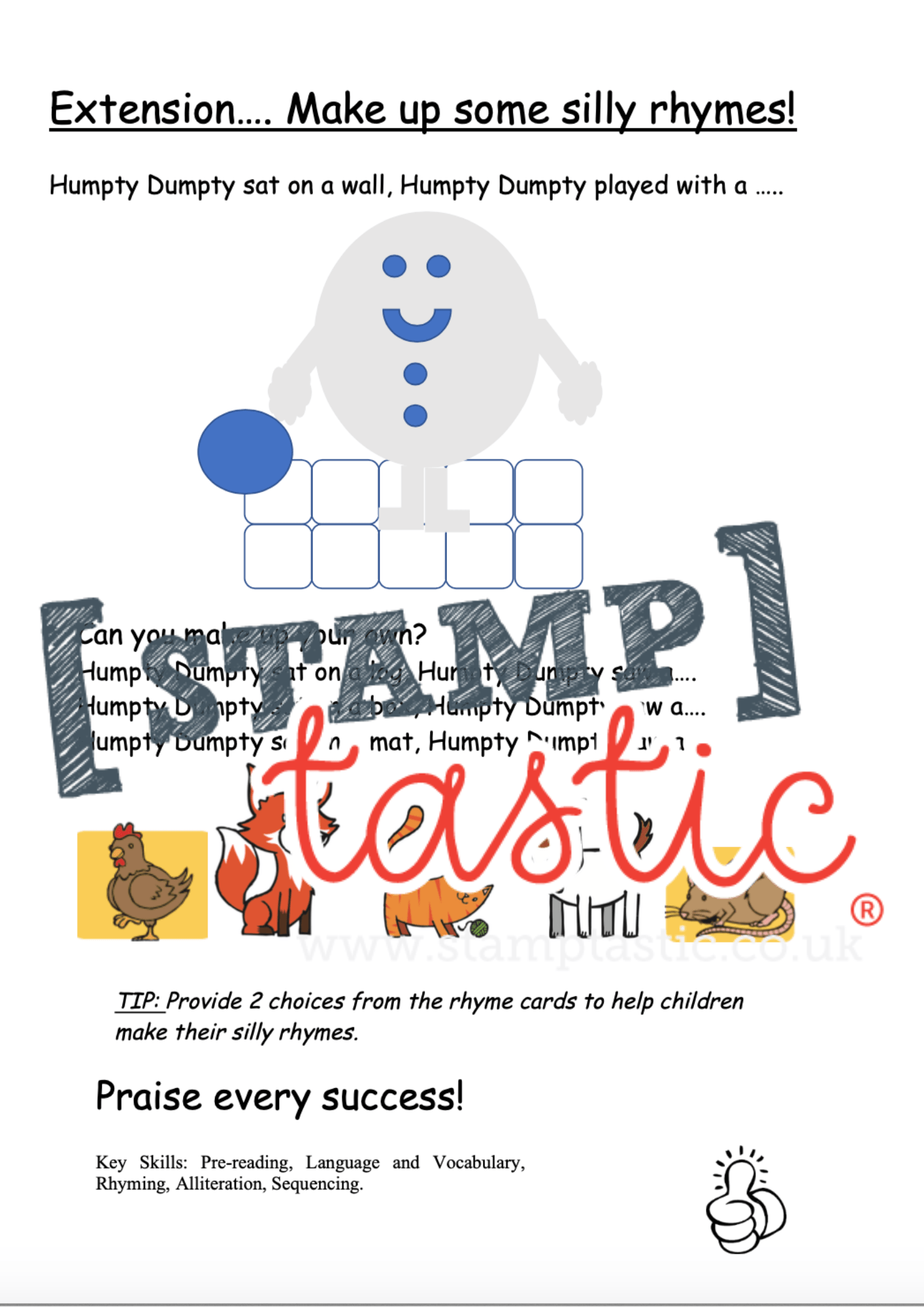 Starting School Free Resource: Rhyming Activity Sheet - stamptastic-uk