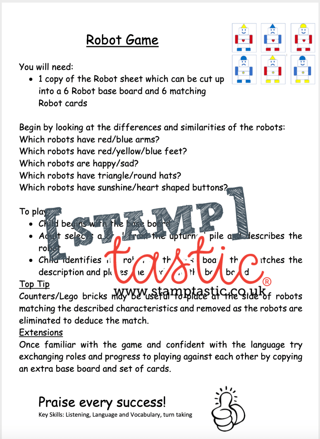 Starting School Free Resource: Robot Game - stamptastic-uk
