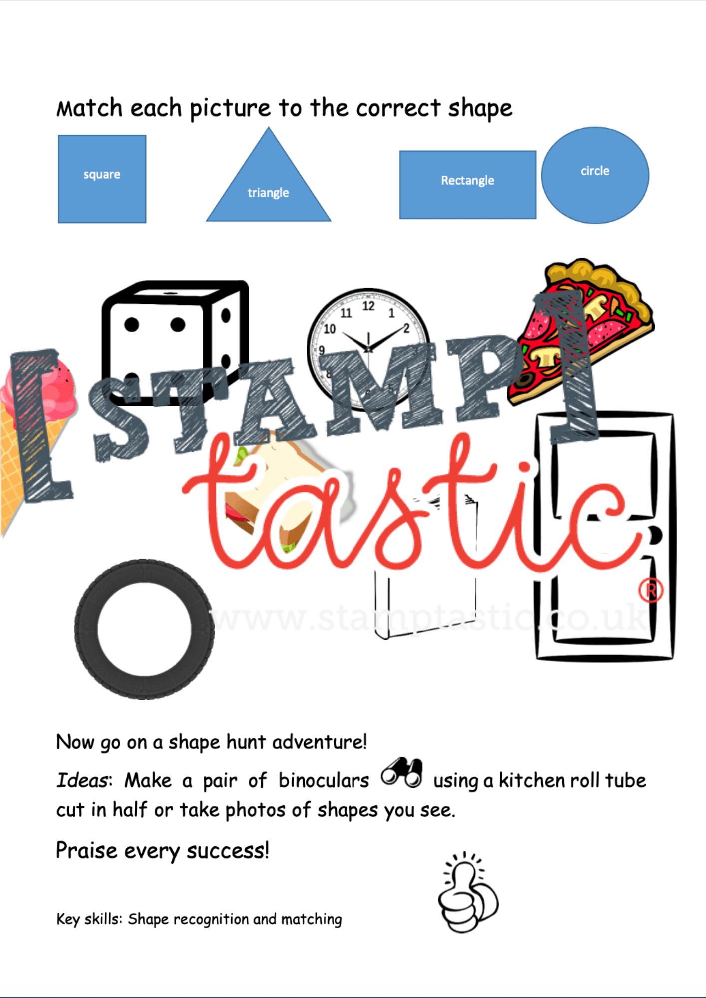 Starting School Free Resource: Shape Activity Sheet - stamptastic-uk