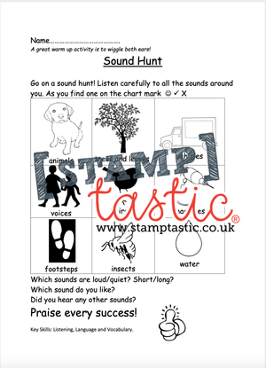 Starting School Free Resource: Sound Hunt - stamptastic-uk