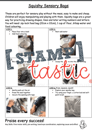 Starting School Free Resource: Squishy Sensory Bags - stamptastic-uk