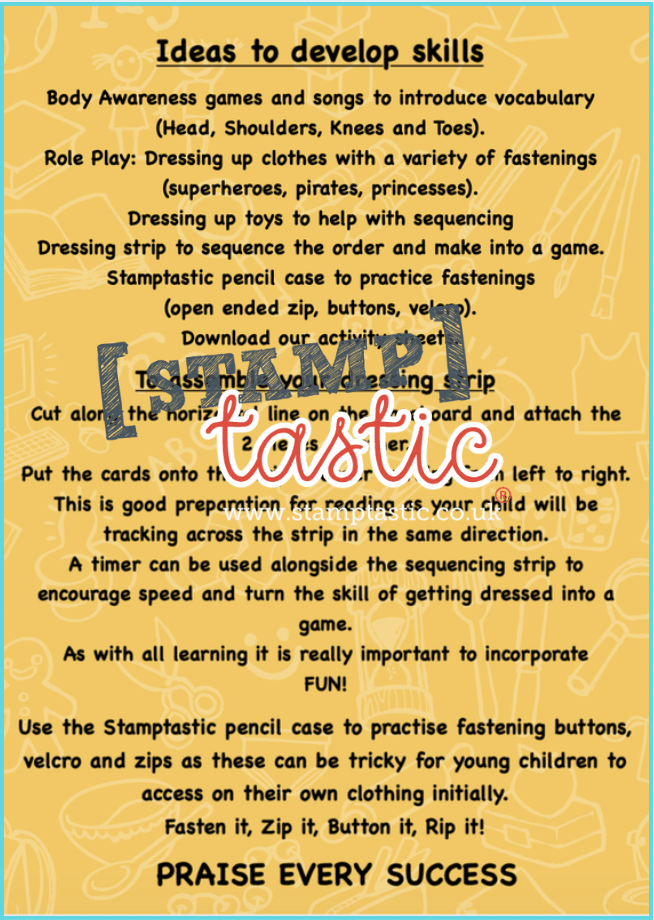 Starting School Free Resource: Getting Dressed Activity Card - stamptastic-uk