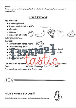 Starting School Free Resource: Fruit Kebab Activity Sheet - stamptastic-uk