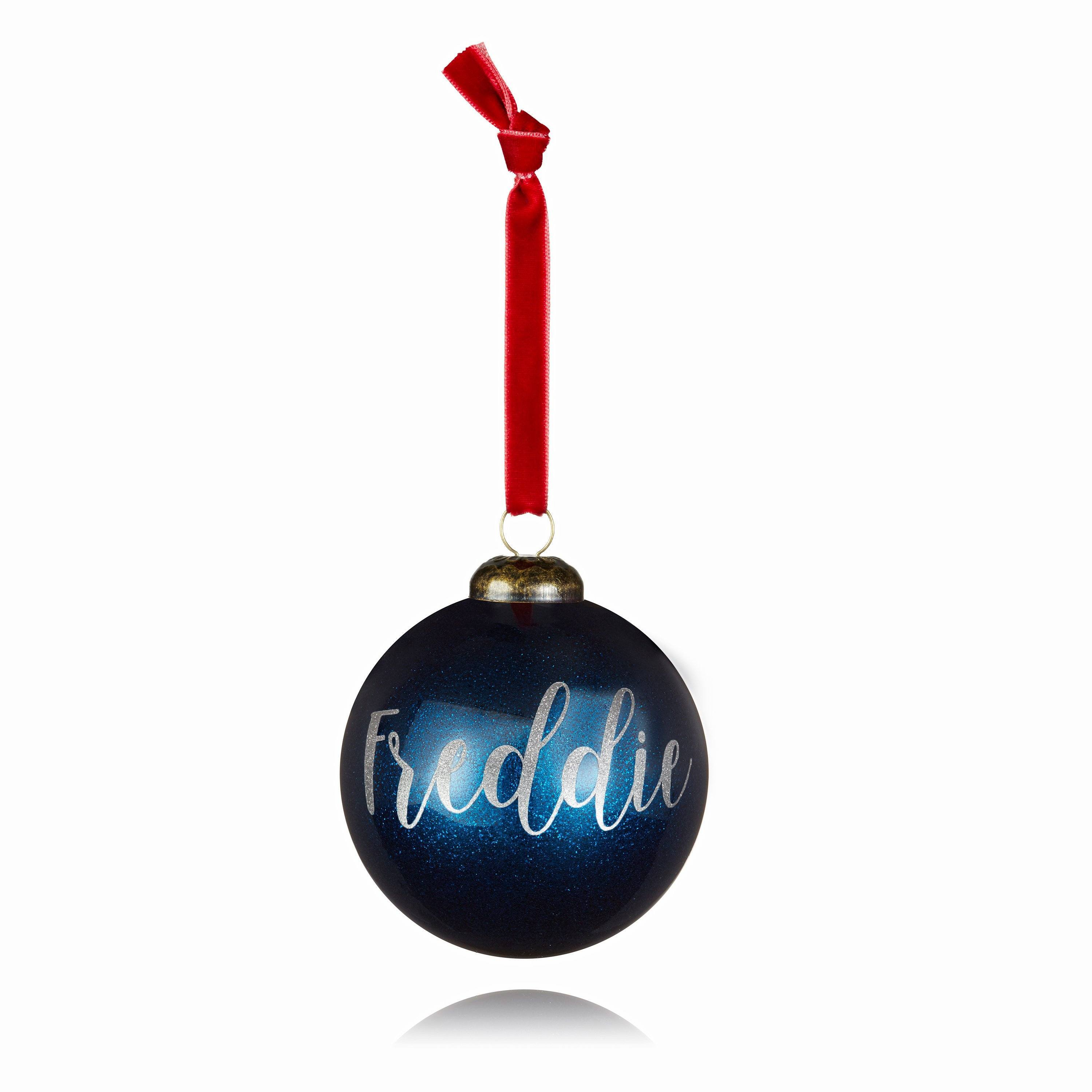 Personalised Blue Glitter bauble