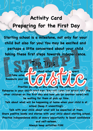 Starting School Free Resource: Preparing For The First Day At School Activity Card - stamptastic-uk
