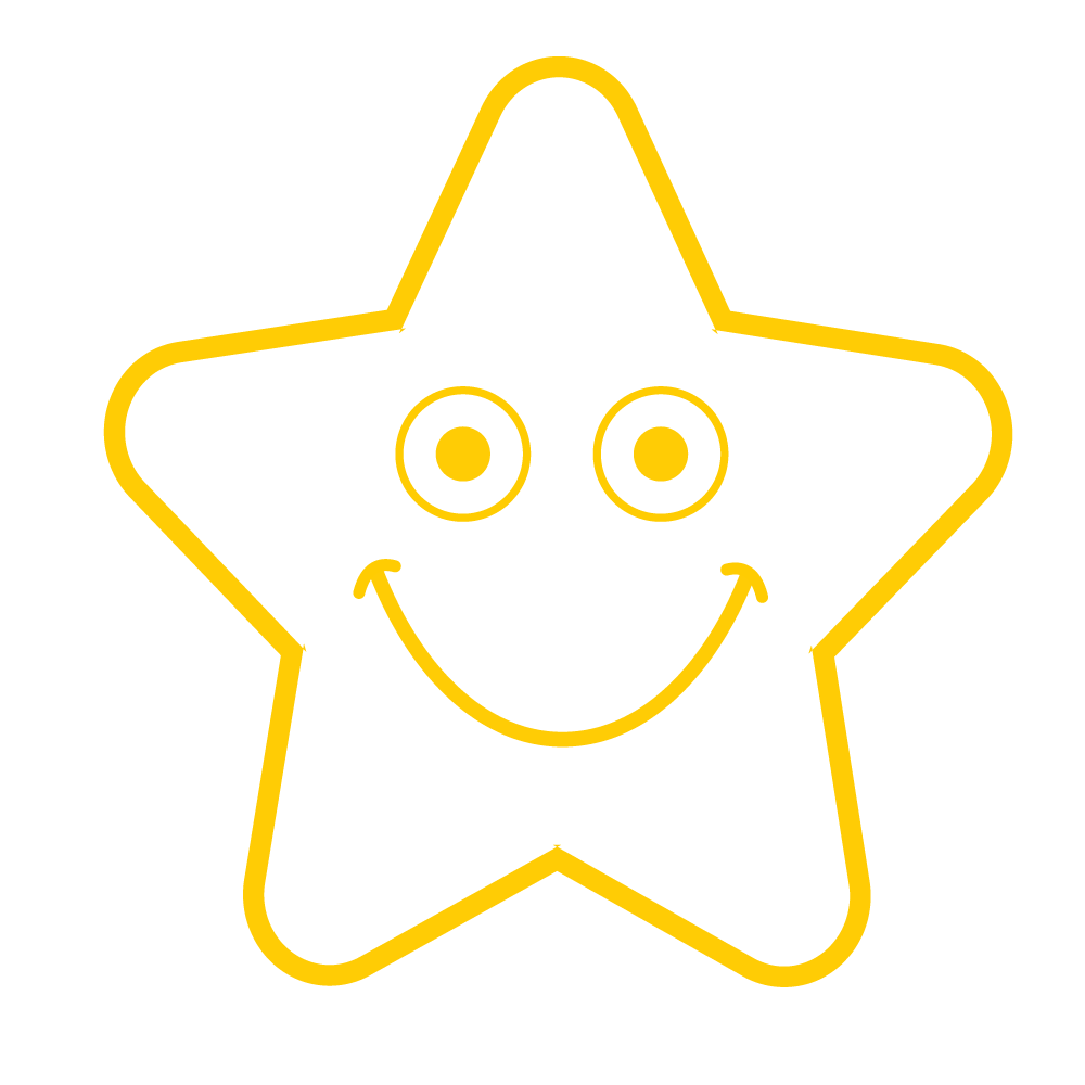 Smiley Gold Star Stamp - stamptastic-uk