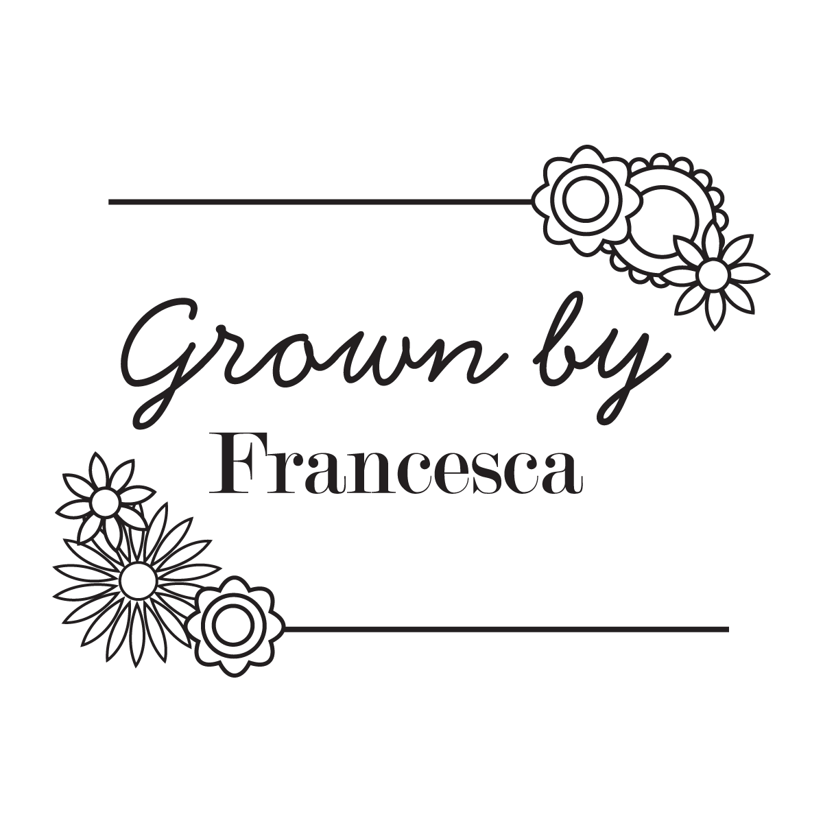 Grown by ........ Flowers Stamp - stamptastic-uk